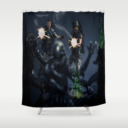"""SURROUNDED"" Shower Curtain"