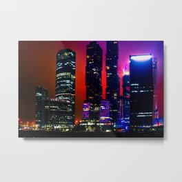 Moscow Business Skyscrapers At Night Metal Print