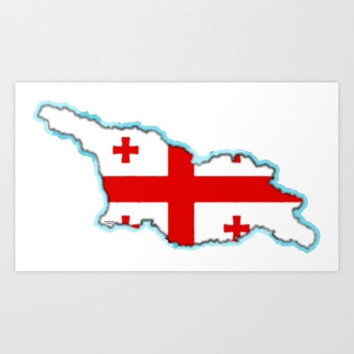 Georgia (Country) Map with Georgian Flag Art Print
