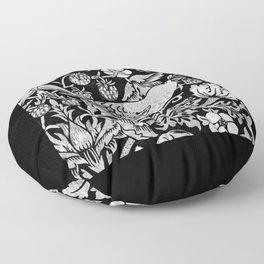 William Morris Bird & Flower Tile, Gray, Black and White Floor Pillow