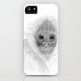 Frank, the Spider Monkey, greyscale iPhone Case