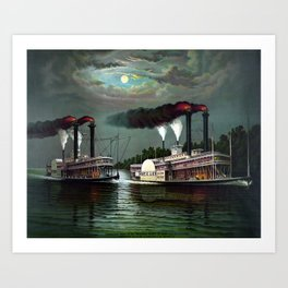 Race Of The Steamers Robert E. Lee and Natchez Art Print