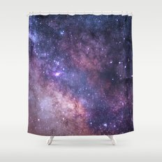 Purple Galaxy Star Travel Shower Curtain