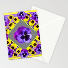 GEOMETRIC  PURPLE & YELLOW  PANSIES ON BUTTER YELLOW Stationery Cards