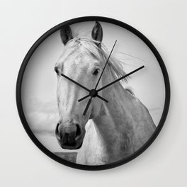 Black and White Horse Photograph Wall Clock