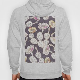 Modern white gold mauve lavender catus floral Hoody
