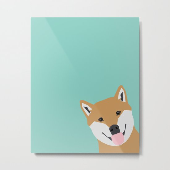 Shiba Inu Peek - cute shiba doge peeking funny dog art print mint turquoise customizable dog gift Metal Print