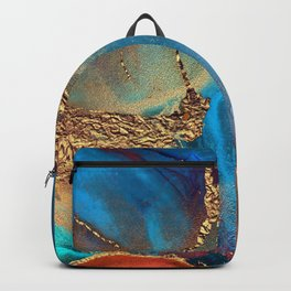 Luxurious Abstract Glitter Gold and Blue Paint Texture Backpack