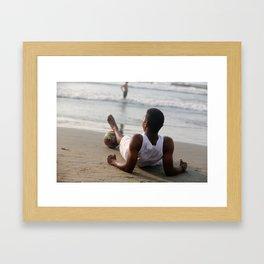 On the Beach in Cartegena Framed Art Print