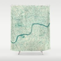 vintage map Shower Curtains featuring London Map Blue Vintage by City Art Posters