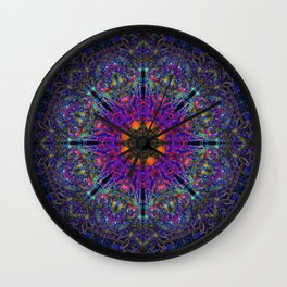Mandala Glitch Stained Glass Wall Clock