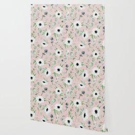 Pink Anemone Pattern Wallpaper