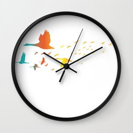 Colored spring birds geese ducks cranes  Wall Clock