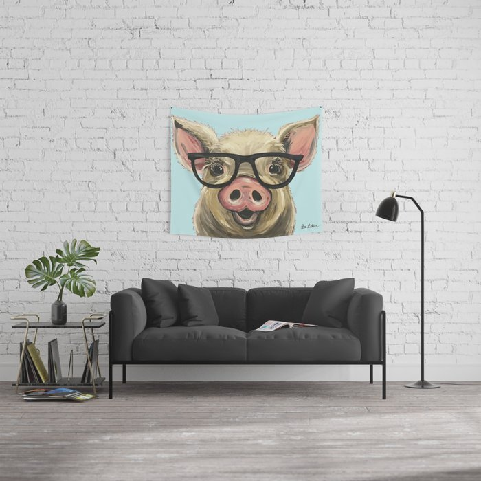 Cute Pig Painting Farm Animal With Glasses Wall Tapestry By