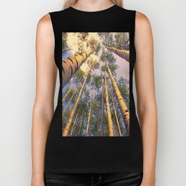 Aspen Trees Against Sky Biker Tank