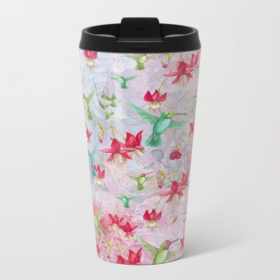 Vintage Watercolor hummingbird and Fuchsia Flowers on pink Background Metal Travel Mug