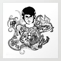 harry potter Art Prints featuring Harry Potter by Ink Tales