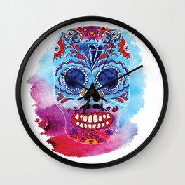 Watercolor Day of the dead sugar skull. Mexican skull illustration. Wall Clock