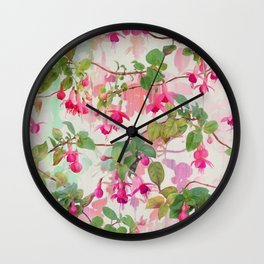 Rainbow Fuchsia Floral Pattern Wall Clock