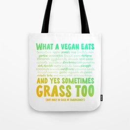 What a Vegan eats Tote Bag