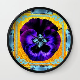 NOUVEAU DESIGN PURPLE PANSY &  AQUAMARINE GEMS Wall Clock