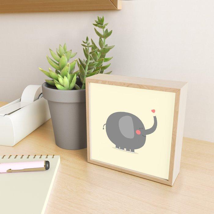 Baby Elephant Illustration Framed Mini Art Print