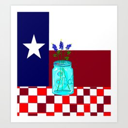 Texas Flag and Blue Bonnets Art Print
