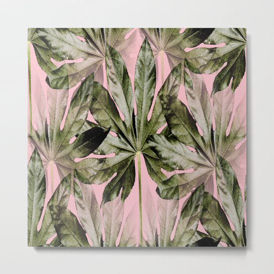 Large green leaves on a pink background - beautiful colors Metal Print