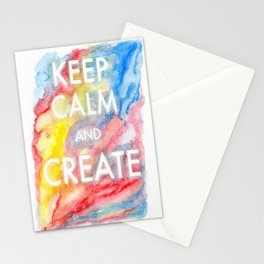 Watercolor Keep Calm and Create Stationery Cards
