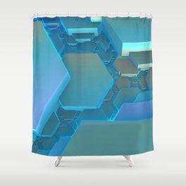 Fractal Art - Hexagon Blues Shower Curtain