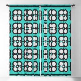 Geometric flowers grid neon teal Blackout Curtain