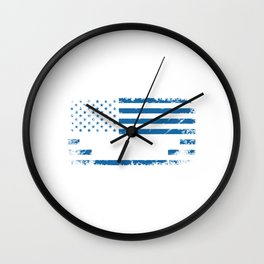 Proud American Airline Pilot Airport Airline Flying Captain Fly High Plane Airplane T-shirt Design Wall Clock