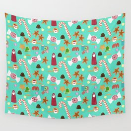 Christmas Sweeties Candies, Peppermints, Candy Canes and Chocolates on Aqua Wall Tapestry