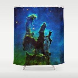 NEbula. : Teal Green Pillars of Creation Shower Curtain