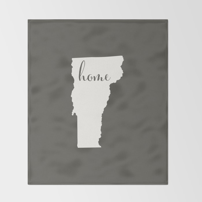 Vermont is Home - White on Charcoal Throw Blanket