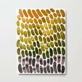 Olive Green Yellow Ochre Mixing Gouache Natural Patterns Colorful Watercolor Abstract Art Mid Centur Metal Print
