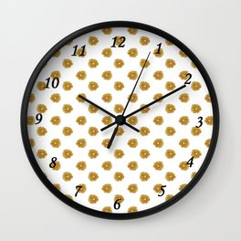 Yellow flowers on white Wall Clock