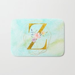 Gold Foil Alphabet Letter Z Initials Monogram Frame with a Gold Geometric Wreath Bath Mat