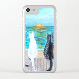 Cat Beach Sunset Clear iPhone Case