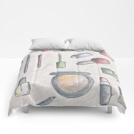 MAKE-UP - pencil and coloured pencil illustration Comforters