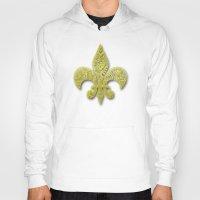 fleur de lis Hoodies featuring Gold Fleur De Lis by Riaora Creations