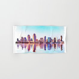 Watercolor of San Diego Skyline at dusk Hand & Bath Towel