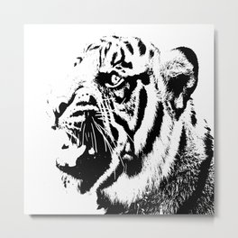Tiger Black & White Metal Print