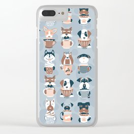 Doggie Coffee and Tea Time I // blue grey Clear iPhone Case