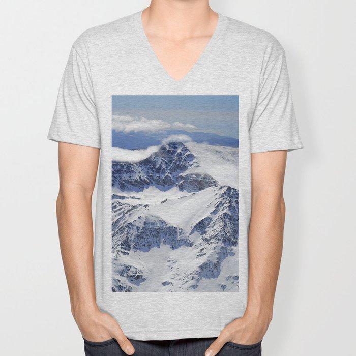 """Big mountains"". Aerial photography Unisex V-Neck"