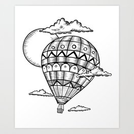 Vintage hot air balloon adventure t-shirt Art Print