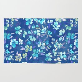 Grown Up Betty - blue watercolor floral Rug