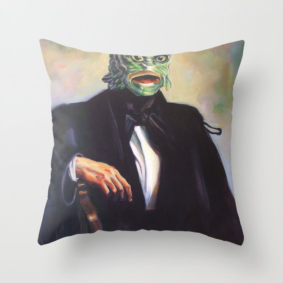 Portrait of Monsieur Gills Throw Pillow