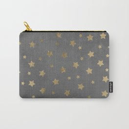 gold christmas stars geometric pattern grey graphite cement concrete Carry-All Pouch