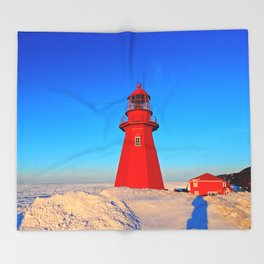 Lighthouse  and Frozen Sea Throw Blanket